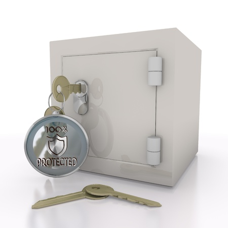 strongbox: Steel blue  shielded strongbox 3d graphic with isolated protected sign  on a safe door