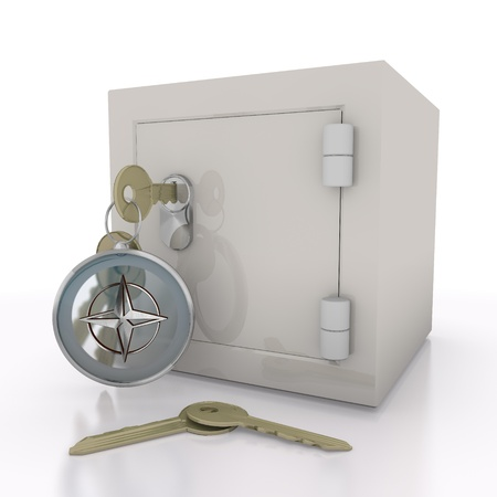 navigating: Steel blue  isolated security 3d graphic with navigating compass sign  on a safe door
