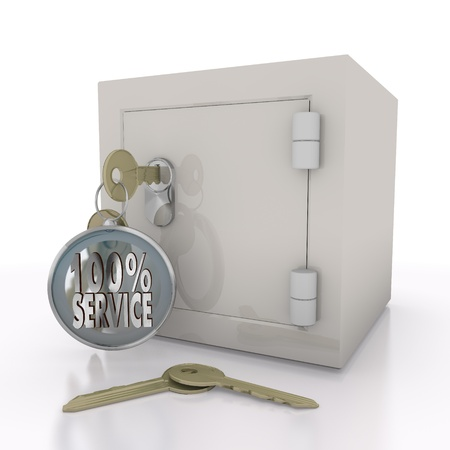 best protection: Steel blue  safe 100 3d graphic with isolated service sign  on a safe door