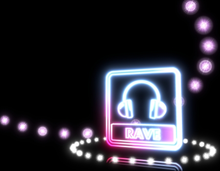 Cool black  shiny dj 3d graphic with glowing rave sign  on disco lights background