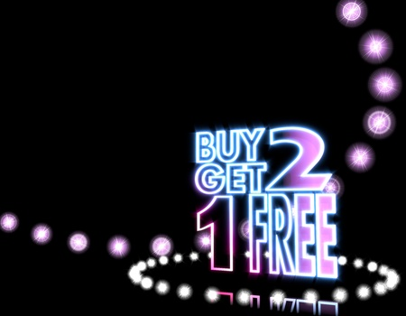 get one: Cool black  shiny disco 3d graphic with neon buy two get one free sign  on disco lights background
