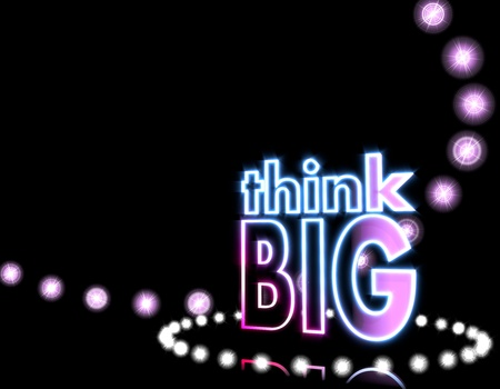 Cool black  motivating event 3d graphic with motivating think big icon  on disco lights background photo