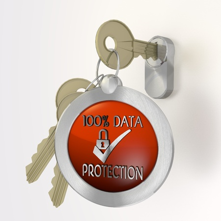 ciphering: Red  safe security 3d graphic with isolated data protection symbol  on a key