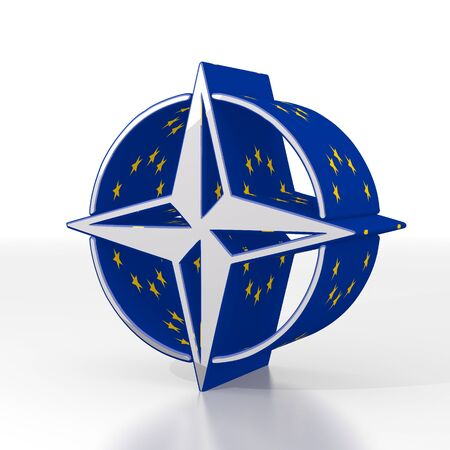 to navigate: Silver  european navigate 3d graphic with navigating compass sign  with eu flag pattern