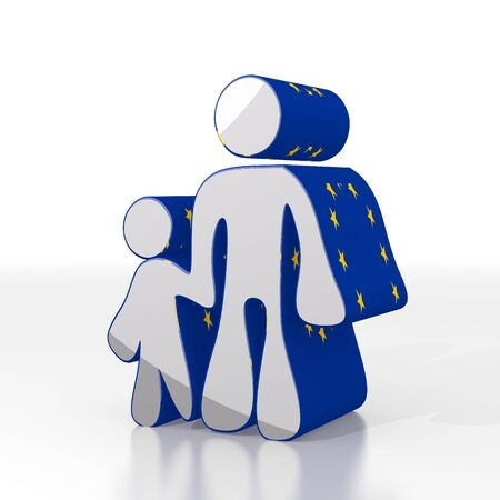son in law: Silver  cute europe 3d graphic with isolated father and son symbol  with eu flag pattern