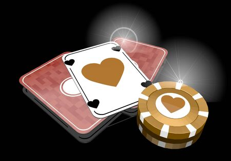 Pastel gray  loving risky 3d graphic with posh heart icon  on poker cards