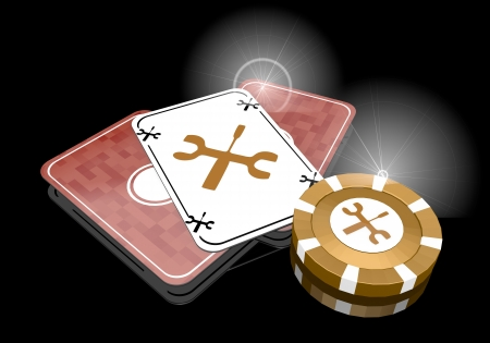 glaring: Pastel gray  glaring tools 3d graphic with technical mechanic sign  on poker cards Stock Photo