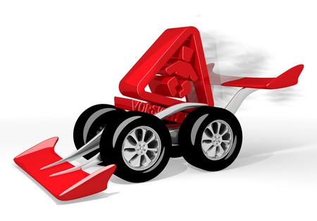 the fastest: Red  isolated slow 3d graphic with super baby on board icon  on a race car