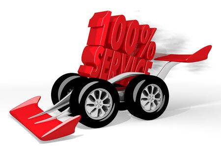 fastest: Red  isolated support 3d graphic with fastest service icon  on a race car