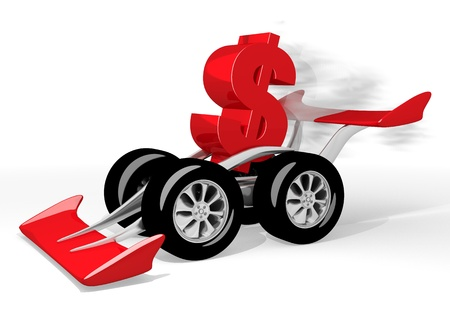quick money: Red  isolated speed 3d graphic with fast Dollar icon  on a race car