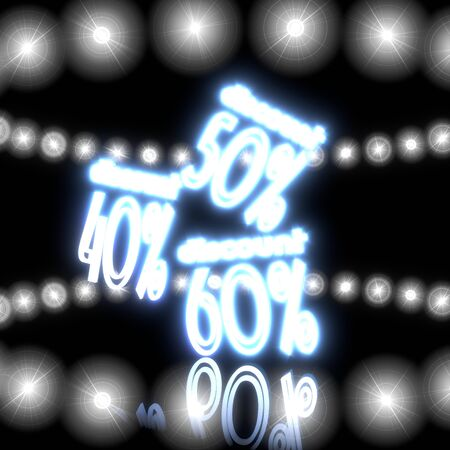ten best: Cool black  glowing design 3d graphic with magic discount symbol  with shining effect lights Stock Photo