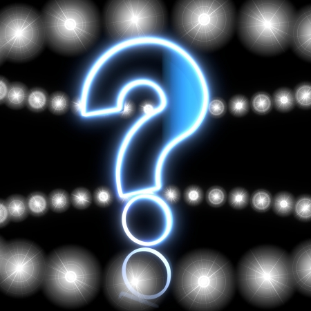 unclear: Cool black  magic design 3d graphic with shiny question symbol  with shining effect lights