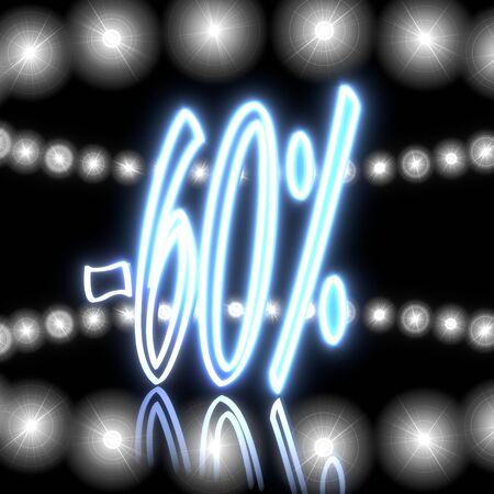 rebate: Cool black  -60 rebate 3d graphic with glowing discount symbol  with shining effect lights