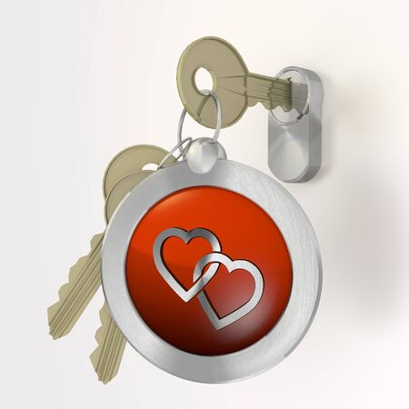 Red  safe partnership 3d graphic with coltish two hearts symbol  on a key photo