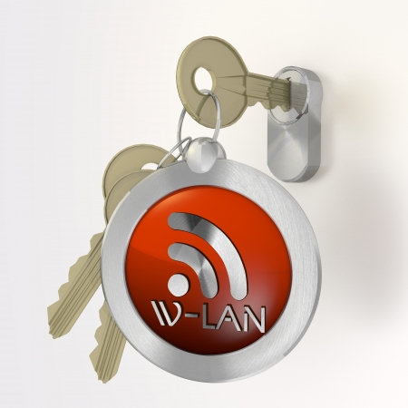 wlan: Red  safe protection 3d graphic with isolated w-lan symbol  on a key