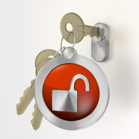 insecure: Red  safe security 3d graphic with insecure unsafe symbol  on a key Stock Photo