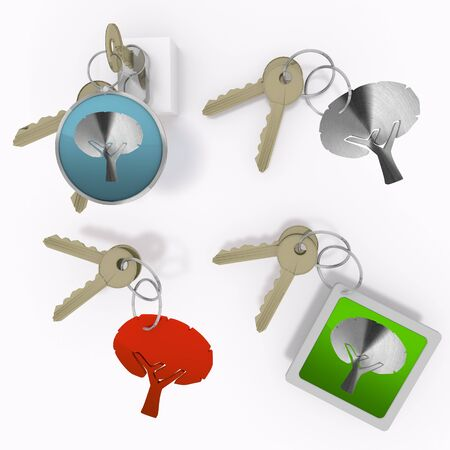 autumnn: Red  eco design 3d graphic with eco abstract tree icon  on set of keys