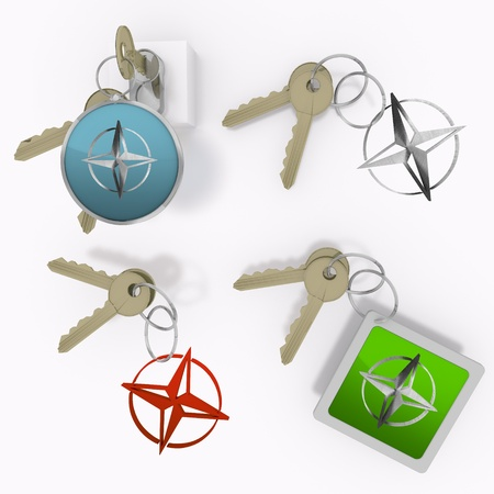 Red  safe protection 3d graphic with isolated compass sign  on set of keys Stock Photo - 20595095