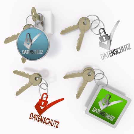 ciphering: Red  isolated security 3d graphic with isolated datenschutz(english data protection) icon  on set of keys