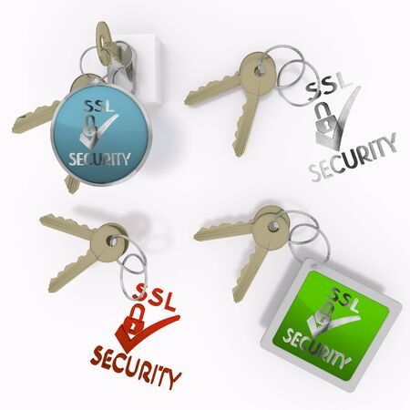 ciphering: Red  safe security 3d graphic with isolated SSL sign  on set of keys