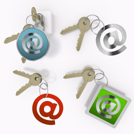 Red  isolated address 3d graphic with safe email sign  on set of keys Stock Photo - 20595153