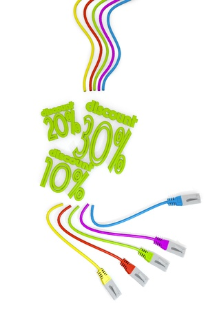 price reduction: Limerick  10 price reduction 3d graphic with 30 discount discount symbol with colourful network cable