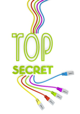 arcane: Limerick  isolated connection 3d graphic with connected top secret symbol with colourful network cable