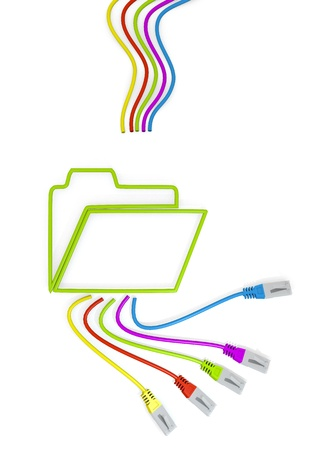 sorted: Limerick  connected organize 3d graphic with sorted folder symbol with colourful network cable