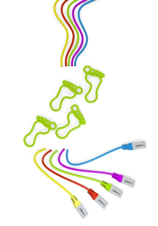 Limerick  friendly foot print 3d graphic with happy footprint symbol with colourful network cable Stock Photo