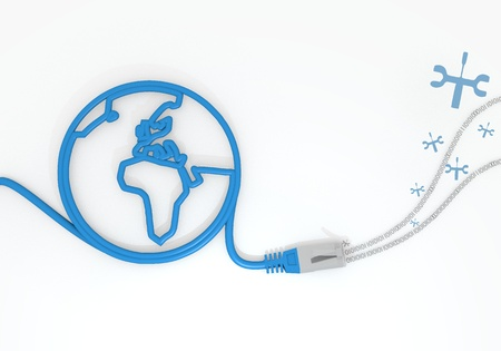 Medium Persian blue  repairing job 3d graphic with submitted mechanic symbol with network cable and world symbol photo