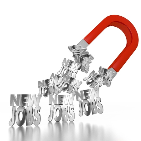 employ: White  magnetic employ 3d graphic with electromagnetic new jobs icon attracted by an magnet