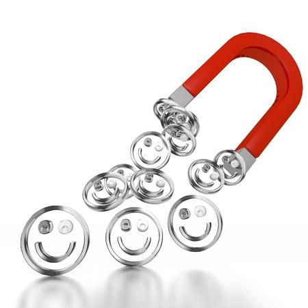 magnetismo: Blanco aislado 3d magnetismo gr�fico con el icono de sonrisa aislado atra�do por un im�n Foto de archivo