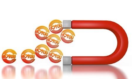 magnetismus: Wei� magnetischen Magnetismus 3D-Grafik mit elektromagnetischen Ich liebe dich von einem Magneten angezogen Zeichen Lizenzfreie Bilder
