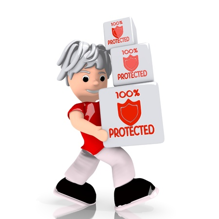 shielded: Dark red  isolated safe 3d graphic with conceptual protected icon  carried by a cute character