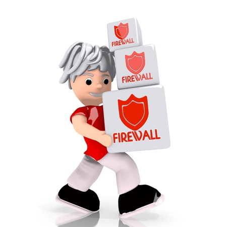 carried: Dark red  conceptual boxes 3d graphic with isolated firewall symbol  carried by a cute character