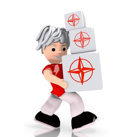 navigating: Dark red  navigating work 3d graphic with conceptual compass icon  carried by a cute character
