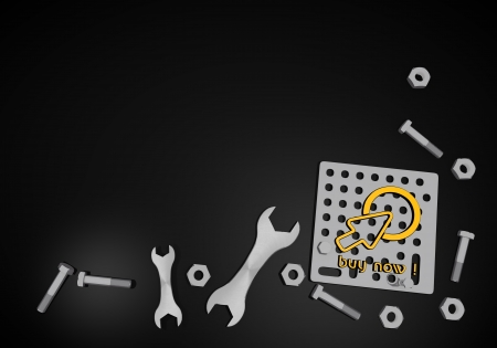 gearbox: Dark orange  mechanical gearbox 3d graphic with isolated buy now symbol on black technic background Stock Photo