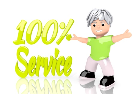 Limerick  funny 100 3d graphic with happy service symbol  with cute 3d character