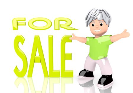 Limerick  young offer 3d graphic with funny sale symbol  with cute 3d character photo
