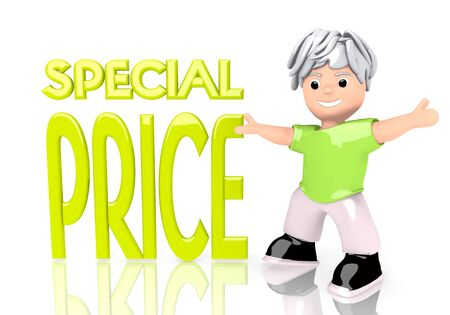 special character: Limerick  funny cartoon 3d graphic with happy special price icon  with cute 3d character