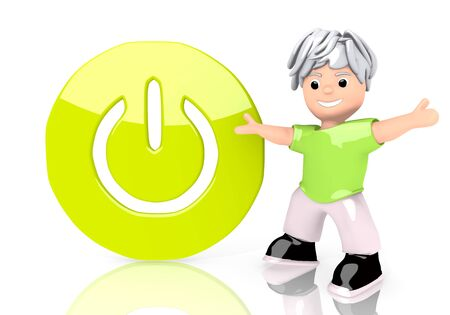 activated: Limerick  funny boy 3d graphic with activated on sign  with cute 3d character Stock Photo