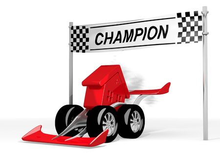 car speed: Red  super speed 3d graphic with super house sign  on a race car champion Stock Photo