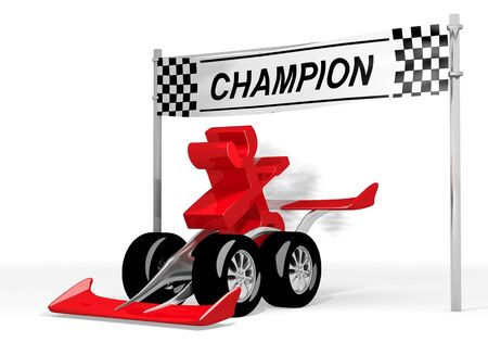 the fastest: Red  best job 3d graphic with repairing mechanic icon  on a race car champion