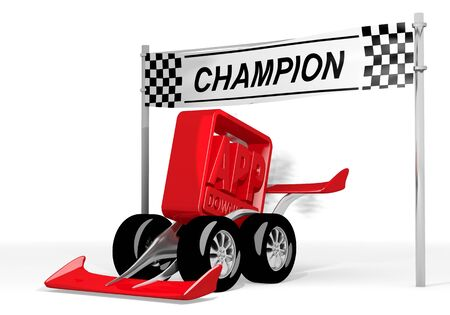 fastest: Red  isolated car 3d graphic with fastest app download symbol  on a race car champion Stock Photo