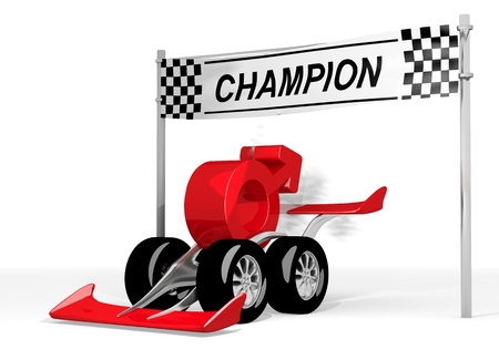 car speed: Red  fast high speed 3d graphic with super man icon  on a race car champion