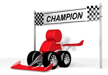 fastest: Red  fastest person 3d graphic with male man symbol  on a race car champion