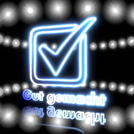 gut: Cool black  perfect ok 3d graphic with magic gut gemacht german for well done icon  with shining effect lights