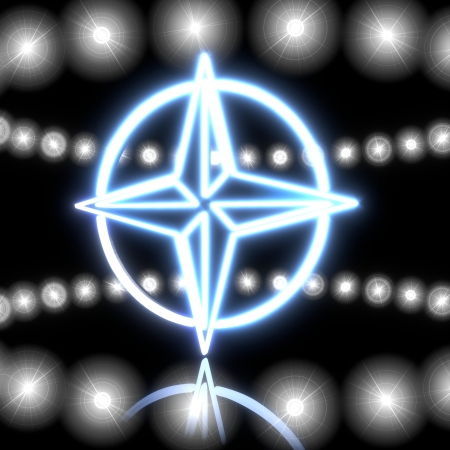 navigating: Cool black  navigating gps 3d graphic with magic compass symbol  with shining effect lights Stock Photo