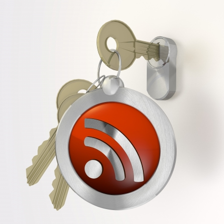 lan: Red  isolated wire less lan 3d graphic with safe wifi icon  on a key Stock Photo