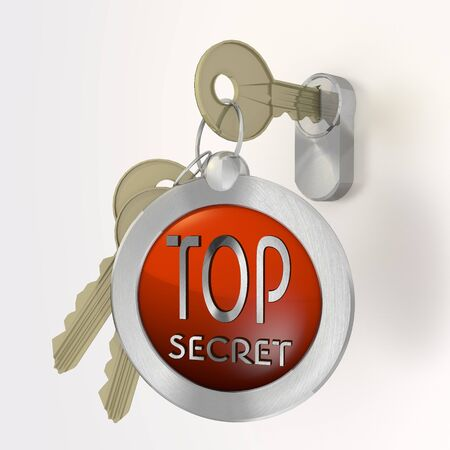 arcane: Red  safe security 3d graphic with isolated top secret symbol  on a key
